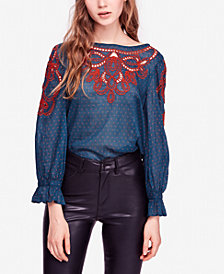 Free People Everything I Know Cotton Embroidered Top