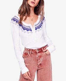 Free People Fair Isle Embroidered Thermal Henley