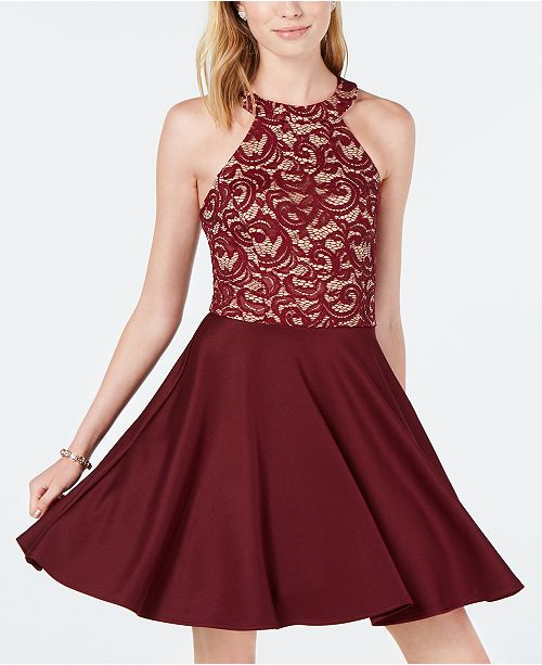 B Darlin Juniors Strappy Lace Halter Fit Amp Flare Dress