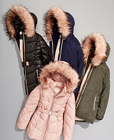 MICHAEL Michael Kors Big Girls Faux-Fur-Trim Puffer Jackets