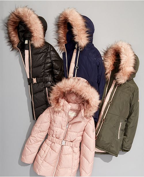 Michael Kors Big Girls Faux Fur Trim Puffer Jackets