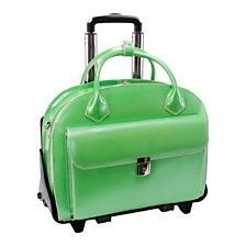 McKlein GLEN ELLYN, Patented Detachable -Wheeled Ladies' Laptop Briefcase, Genuine Cowhide Leather, Green