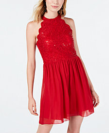 Speechless Juniors' Lace Halter A-Line Dress, Created for Macy's