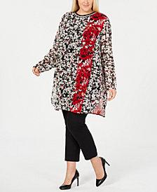 Calvin Klein Plus Size Floral-Print Tunic