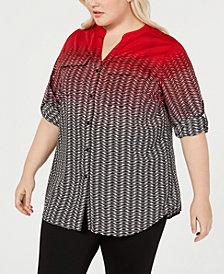 Calvin Klein Plus Size Ombré Printed Utility Shirt
