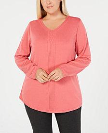 Karen Scott Plus Size Cotton Cable-Detail Sweater