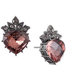 Jenny Packham Hematite-Tone Pavé & Stone Crown Stud Earrings
