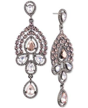 JENNY PACKHAM Crystal & Stone Chandelier Earrings in Hematite