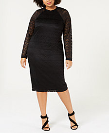 City Studios Trendy Plus Size Lace-Sleeve Bodycon Dress