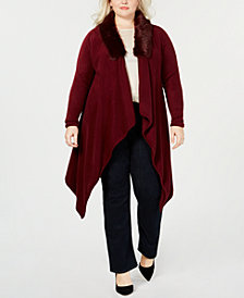 Say What? Trendy Plus Size Faux-Fur Collar Cardigan Sweater