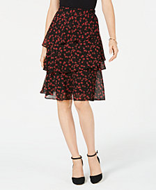MICHAEL Michael Kors Eden Rose Tiered Skirt in Regular & Petite Sizes