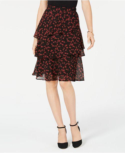dac08f63d50ac ... Michael Kors Eden Rose Tiered Skirt in Regular   Petite Sizes ...