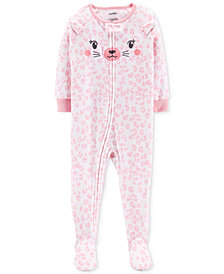 Carter's Toddler Girls Cheetah-Print Footed Pajamas