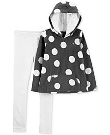 Carter's Little & Big Girls 2-Pc. Polka Dot Fleece Hoodie & Glitter Leggings Set