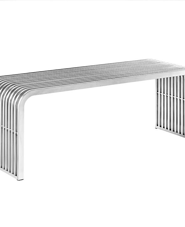 """Modway Pipe 47"""" Stainless Steel Bench"""