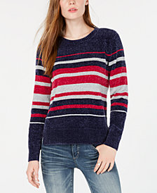 Maison Jules Striped Chenille Sweater, Created for Macy's