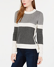 Maison Jules Colorblocked High-Low Sweater, Created for Macy's