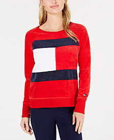 Tommy Hilfiger Sport Logo Velour Sweatshirt, Created for Macy's
