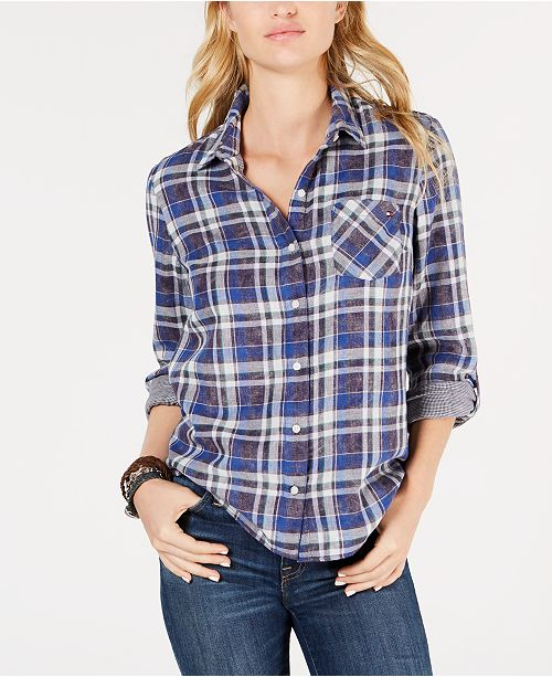 536ce901 ... Tommy Hilfiger Cotton Double-Faced Plaid Shirt, Created for Macy's ...