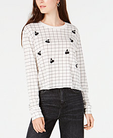 Carbon Copy Juniors' Grid Cherry-Graphic Top