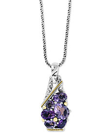 "EFFY® Amethyst 18"" Pendant Necklace (5 ct. t.w.) in Sterling Silver & 18k Gold"