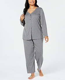 Charter Club Plus Size Printed Cotton Knit Pajama Set, Created for Macy's