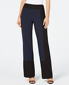 I.N.C. Colorblock Wide-Leg Pants, Created for Macy's