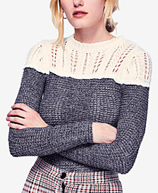 Free People Snowflake Colorblocked Pointelle Sweater