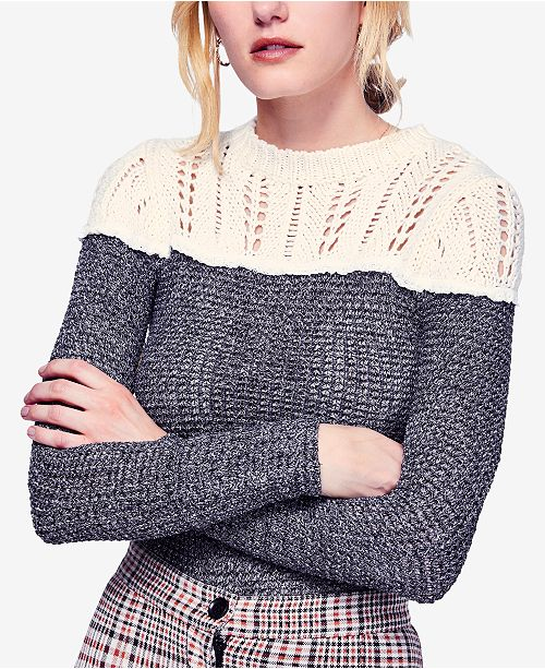 9829038f7199f Free People Snowflake Colorblocked Pointelle Sweater   Reviews ...