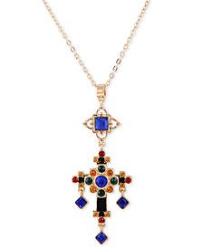 "GUESS Gold-Tone Multicolor Crystal Cross Pendant Necklace, 30"" + 2"" extender"