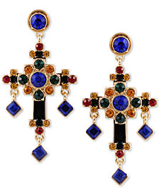 GUESS Gold-Tone Multicolor Crystal Cross Drop Earrings