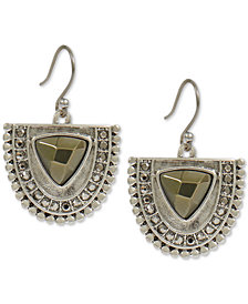 Lucky Brand Silver-Tone Pavé & Stone Half Circle Drop Earrings