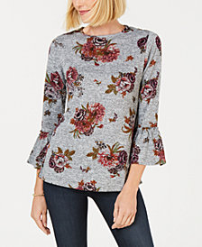 John Paul Richard Petite Floral Knit Top