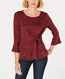 NY Collection Petite Knot-Detail Top
