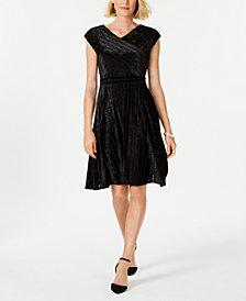 NY Collection Petite Velvet A-Line Dress