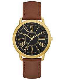 GUESS Women's Brown Leather Strap Watch 41mm