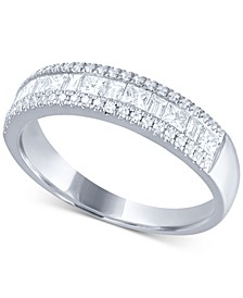 Diamond Princess & Baguette Band (3/4 ct. t.w.) in 14k White Gold