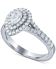 Diamond Pear Double Halo Engagement Ring (1 ct. t.w.) in 14k White Gold