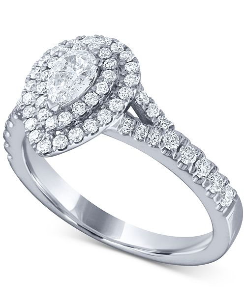 Macy S Diamond Pear Double Halo Engagement Ring 1 Ct T W In 14k White Gold Reviews Rings Jewelry Watches Macy S