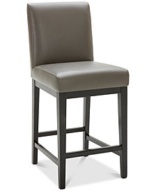 Tate Leather Parsons Graphite Counter Stool