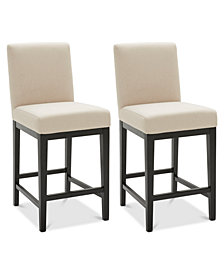 Tate Fabric Parsons Stool, 2-Pc. Set (2 Cream Counter Stools)