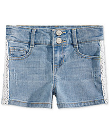 Epic Threads Little Girls Lace-Trim Denim Shorts, Created for Macy's