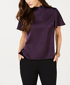 Nine West Flutter-Sleeve Bow-Neck Blouse
