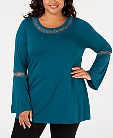 Plus Size Studded Mesh-Trim Top