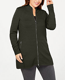 Belldini Black Label Plus Size Zip-Front Ribbed-Knit Cardigan