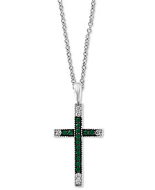 "EFFY® Ruby (1/5 ct. t.w.) & Diamond (1/10 ct. t.w.) Cross 18"" Pendant Necklace in 14k White Gold(Also Available In Emerald)"
