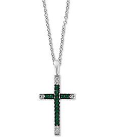 """EFFY® Emerald (1/4 ct. t.w.) & Diamond (1/10 ct. t.w.) 18"""" Pendant Necklace in 14k White Gold"""