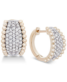 Wrapped in Love™ Diamond Pavé Beaded Hoop Earrings (1 ct. t.w.) in 14k Gold, Created for Macy's