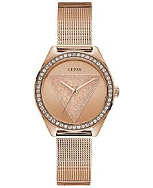 GUESS Women's Rose Gold-Tone Stainless Steel Mesh Bracelet 36.5mm