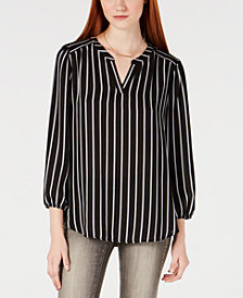 BCX Juniors' Striped Blouson-Sleeve Top